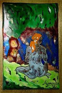 Carlos Marques - Quadro, Arte em Pintura, Raro Esmalte sobre Metal, Assinada