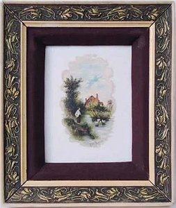 Adelia Bayma - Quadro, Antiga Pintura S/ Porcelana de 1904, Assinada, Rica Moldura em Galalite