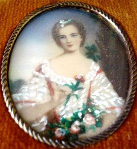 Antiga Pintura em Miniatura S/ Celuloide, Figura de Dama, 15 x 14 cm