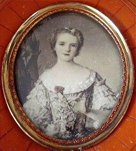 Antiga Pintura em Miniatura S/ Celuloide, Figura de Dama, Moldura em Túnel, 11 x 9,5 cm