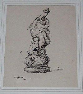 Edgar Oehlmeyer - Quadro, Arte Sacra em Pintura Nanquim, Original, 1966, Nossa Senhora da Conceição