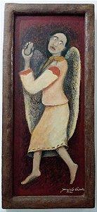 Zé Do Carmo - Arte em Quadro, Pintura de Anjo em Técnica Mista Sobre Madeira
