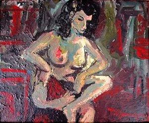 Tadashi Kaminagai - Quadro, Pintura Figurativo Nú Feminino, Ost Assinada - 44x38cm