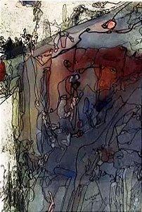 Paulo Ludmer - Quadro, Arte em Pintura Abstrata, Aquarela e Nanquim S/ Papel, Assinado, 1969