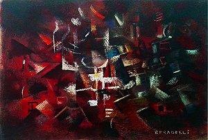 R. Fragelli - Quadro, Arte em Pintura, Óleo S/ Papel, Assinada, Cubismo Futurista, 1974