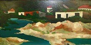 Ferenc Kiss - Casario, Quadro, Arte em Pintura, Original, Óleo S/ Eucatex, Assinada