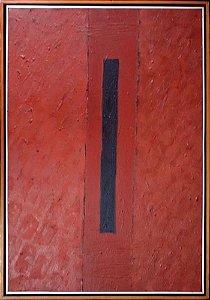 Leonel Mattos - Quadro, Arte em Pintura Geométrica, Acrílico S/ Tela, Assinada, Faixa Azul, 1989