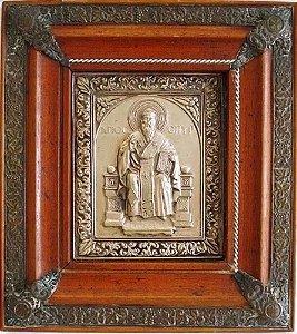 Arte Sacra - Antigo Ícone Religioso, em Metal Prateado com Relevos, Emoldurado