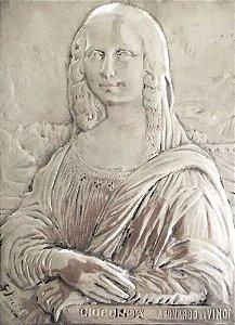G. Piccioli - Placa em Metal Espessurada a Prata, Assinada, Releitura de Monalisa, Leonardo da Vinci