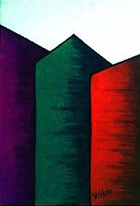 Carlos Villar - Quadro, Arte em Desenho Original, Assinado, Giz de Cera S/ Cartão, Geométrico