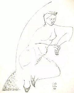 Carlos Villar - Quadro, Arte em Desenho Original a Nanquim, Nu Feminino, Assinado,  1987
