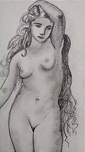 Sebastien Neveu - Quadro, Arte em Desenho Original Assinado, Nu Feminino, 2015