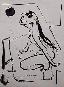 Tikashi Fukushima - Nú Feminino, Quadro, Arte em Desenho Original na Técnica Nanquim, Assinado, 1955