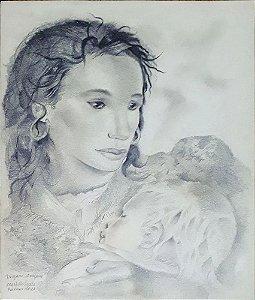 Mariette Lydis - Quadro, Arte em Desenho Original, Assinado, Técnica Grafite, Cigana, Maternidade