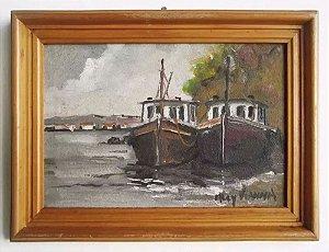 Alcy Vianna - Quadro, Arte em Pintura Original, Óleo S/ Eucatex, Temática Navegação / Marítima, Assinada