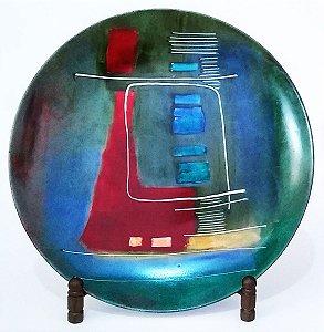 Prato - Arte Em Pintura, Figura Abstrata Geométrica 24cm, Assinado