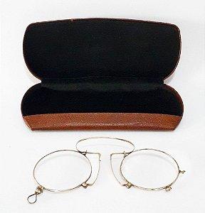 Antigo Par De Óculos Pince Nez Articulado,  No Estojo Original