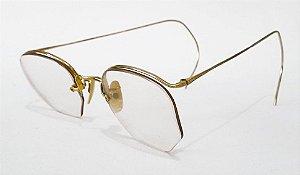 Par de Oculos Antigos Sextavados, Banho de Ouro - 1/10 - 12 KGF - No Estojo Original