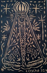 Matriz De Xilogravura Imagem de N. Sra. Aparecida, Assinada Zé Dáryo