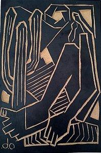 Matriz De Xilogravura Releitura da Obra Abaporu de Tarsila do Amaral - Monogramado