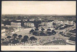 Recife - Pernambuco - Praça Visconde de Camaragibe, Cartão Postal Tipográfico Antigo Original