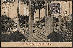 Recife - Pernambuco - Praça da República, Cartão Postal Tipográfico Antigo Original
