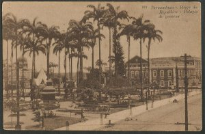 Recife - Pernambuco - Praça da República e Palácio do Governo, Cartão Postal Tipográfico Antigo Original