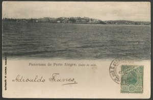 Rio Grande do Sul - Panorama de Porto Alegre, Cartão Postal Tipográfico Antigo Original de 1908