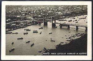 Rio Grande do Sul - Porto Alegre, Ponte Getulio Vargas, Cartão Postal Fotográfico Antigo Original