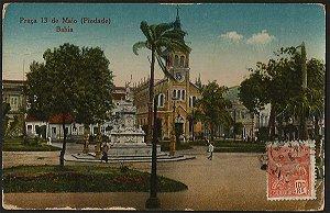 Bahia - Praça 13 de Maio (Piedade) - Cartão Postal Tipográfico Antigo Original de 1925