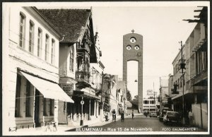 Santa Catarina - Blumenau - Rua 15 de Novembro - Cartão Postal Fotográfico Antigo Original