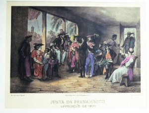 Rugendas Litogravura Original 1835 - Junta de Pernambuco - Colorizada por Hannah Brandt