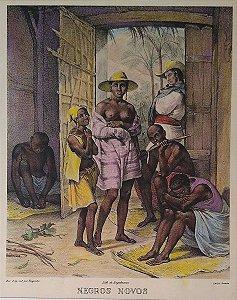 Litografia Original 1835 de Rugendas - Negros Novos - Colorizada por Hannah Brandt