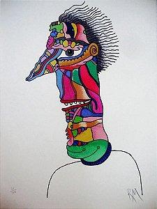 Roberto Magalhães - Gravura Original - Figura de Homem Estilizada