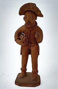 Luiz Antonio - Escultura De Barro, Homem com Feixe Lenha