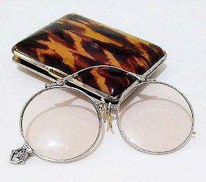 Par de Óculos Antigos Pince Nez com Banho Ouro Branco 1/13 - 12k
