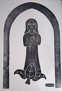Canuto - Gravura Xilogravura Original Santa com Terço e Bíblia - Assinada na Chapa