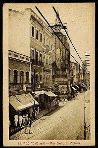 Cartão Postal Antigo Original - Recife, Pernambuco - Rua Barão da Victória