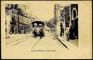 Pernambuco, Recife - Postal Antigo R. Vitória Bonde A Cavalo