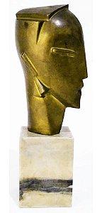 Escultura em Bronze Déco, Modernismo - Rosto de Mulher - Com Base Mármore