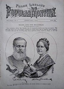 Dom Pedro II e D. Teresa Christina - Reportagem na Revista Americana Popular Monthly, Original de 1890 - Lenach