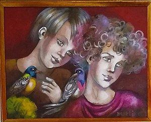 Sergio Martinolli - Quadro Arte Menina C/ Pássaro - Lenach