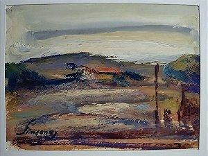 José Simeone - Quadro Pintura Óleo sobre Cartão - Paisagem Rural