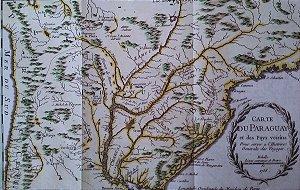 Mapa do Brasil e Paraguai, Original de 1756 - Gravura Iluminura, Rio Grande do Sul, Parana, São Paulo, Rio de Janeiro