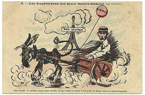 Santos Dumont, Raro Postal De Caricatura do Aviador, Charge