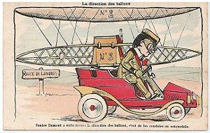 Santos Dumont, Raro Cartão Postal com Caricatura, Charge Sobre os Balões