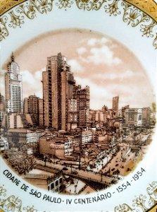 IV Centenário de São Paulo - Antigo Prato com Imagem do Viaduto Chá, Banespa - 1954