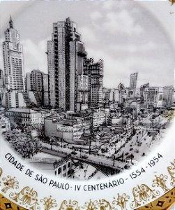 IV Centenário de São Paulo - Prato com Imagem do Viaduto Chá em P/B, 1954