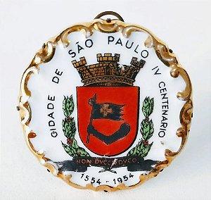 IV Centenário de São Paulo - Medalhão de Porcelana Brasão com Pé