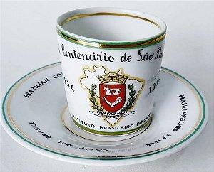 IV Centenário de São Paulo - Xícara de Café com Brasão, Instituto Brasileiro do Café